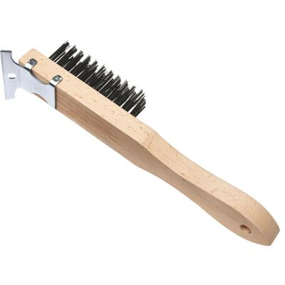 Best Look Straight Wood Handle Wire Brush with Scraper